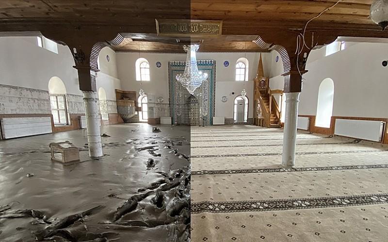 Bozkurt'ta selin vurduğu 113 yıllık cami balçıktan temizlendi