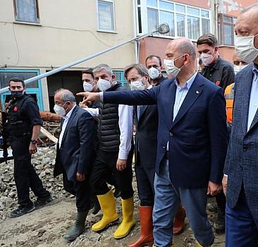 Cumhurbaşkanı Erdoğan, afet bölgesinde incelemede bulundu