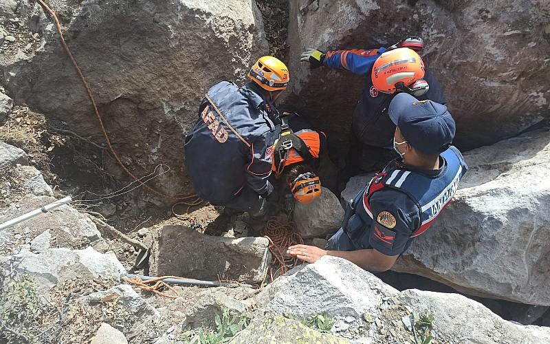 Niğde'de kayalıklarda mahsur kalan oğlak kurtarıldı
