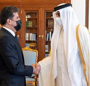 Katar Emiri Al Sani ile IKBY Başkanı Barzani, iş birliğinin güçlendirilmesini görüştü