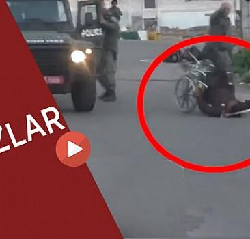 Katil İsrail askerlerinden sakat filistinliye şiddet