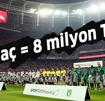 1 maç = 8 milyon TL